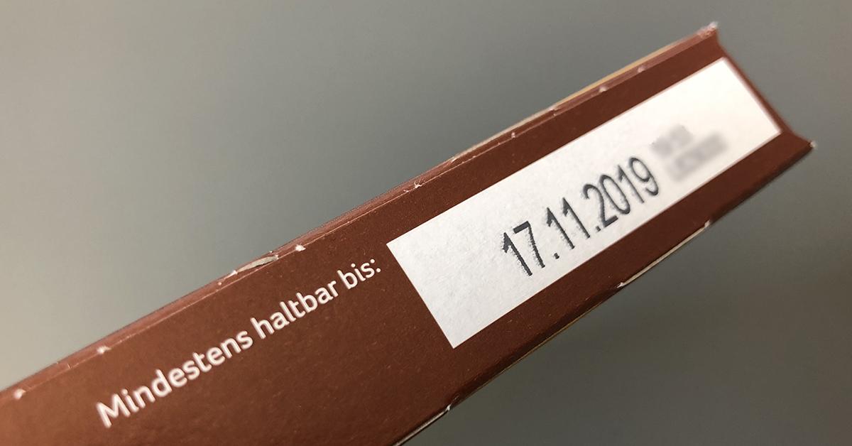 Mindesthaltbarkeitsdatum auf einer Verpackung