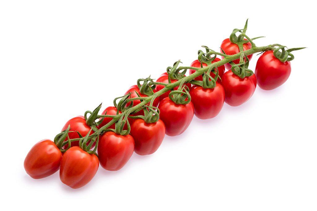 Cherry-Pflaumen-Rispentomaten der Sorte Strabena