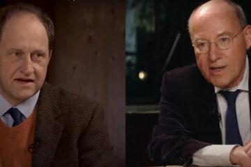 """Alexander Graf Lambsdorff (links im Bild) und Gregor Gysi in der Webtalkshow """"Küchenkabinett""""."""